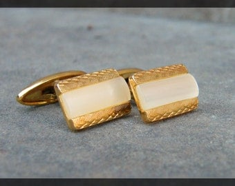 Rich Gold Finish and Mother of Pearl Hinged Toggle Vintage Cuff Links Cufflinks