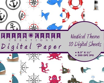 "Nautical Themed Digital Paper • 10 Sheets • 300 DPI • 8.5 X 11"" • Instant Download"