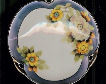 Vintage Beautiful Noritake Blue & White Floral Lustre Dish