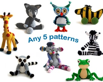 Patternbundle: Any 5 amigurumi animal crochet patterns of your choice
