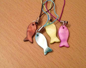 Mother of pearl fish cell phone charm, fish bag charm, fish zip pull, various colours