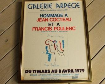 Original Jean Cocteau & Francis Poulenc 1979 Hommage Framed Lithograph Galerie Arpege Rare Great Color French Exhibit