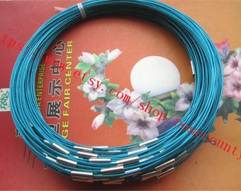 Wholesale 20pcs 18 inch 1mm Blue cover stainless wire choker necklace with magnet clasps