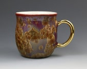 Crystalline 14 oz Gold Leaf Mug Golden Bronze Amber Speckle on Red Brown Fade with White Cup #7620