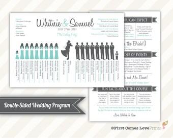 Robin's Egg Teal Aqua Blue Silhouette Wedding Program PDF • Fun Unique • Printable • Choose Your Silhouettes Double Sided
