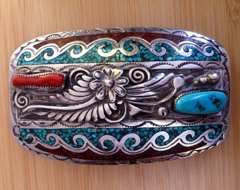 Tom Ahasteen belt buckle, vintage navajo belt buckle, Sterling silver, turquoise and coral belt buckle