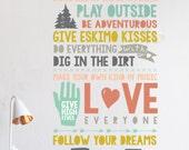 Wall Decal  - Kids Rules  - Wall Sticker - Room Decor