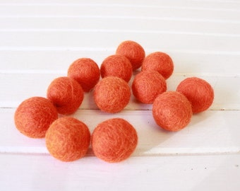 Tangerine Felt Balls 12 count