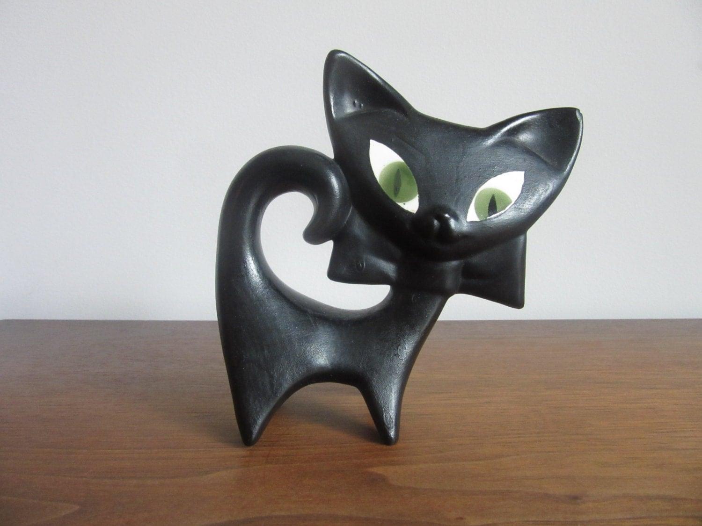 Vintage Mid Century Black Ceramic Cat Figurine Modern
