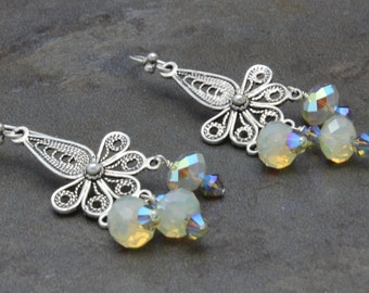21 - Sterling Silver, Swarovski Crystals, Sand Opal, Beige, Taupe, Grey, Gray, Neutral, Earrings, One of a Kind