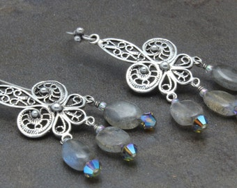 23 - Sterling Silver, Labradorite, Swarovski Crystals, Earrings, One-of-a-Kind, OOAK