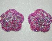 Baby pink acrylic/crystal rhinestone flower nipple pasties