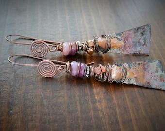 Shining Sunrise earrings - Artisan, Eclectic, Rustic, OOAK