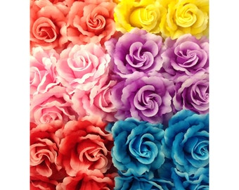 "Set of 24 assotred rose flower hair clip 3.5""/ pink purple yellow rose / wedding accessory / bridemaid / dance / wholesale lot hair clip"