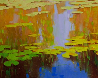 Waterlilies Original oil Painting on Canvas Handmade painting 20 x 45 in One of a kind Large Size