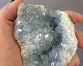 RESERVED - Celestite Cluster abd Celestite Palm Stone - The Heaven Stone