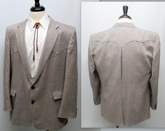 Vintage 80s Western Sports Coat,  Circle S Western Blazer, Western Atomic Jacket