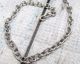 Stainless Steel Chain - 5 foot package- 6x4.5mm cable chain - Stainless Steel by the foot- Stainless Steel Bulk Chain - Bracelet Chain (114)