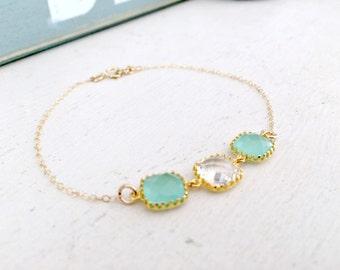 Mint  Bracelet 14k gold filled crystal mint jewelry mint bracelet crystal bracelet three stones gemstone bracelet bridesmaid bracelet sets
