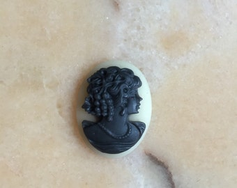 Lady with beaded cabochon for small cameo necklace.