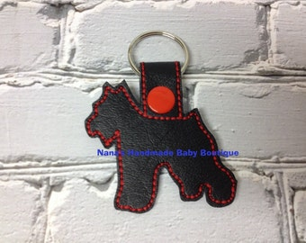 Schnauzer - Miniature Schnauzer Dog -  In The Hoop - Snap/Rivet Key Fob - DIGITAL Embroidery Design