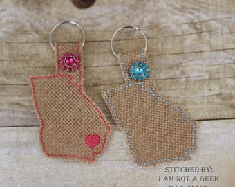 Georgia Outline - Heart for the City - In The Hoop - Snap/Rivet Key Fob - DIGITAL Embroidery Design