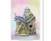 Fairy House Greeting Cards - Set of 3 5x7 Photo Notecards of Fairy Houses with magical backgrounds. Blank inside