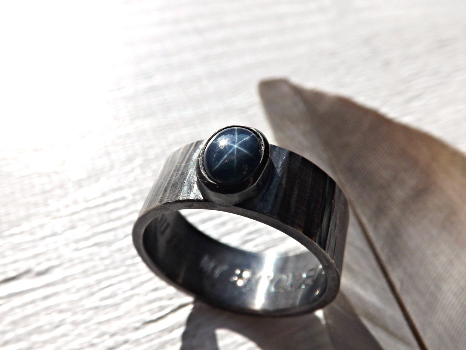 star sapphire ring silver cool mens ring silver hammered. Black Bedroom Furniture Sets. Home Design Ideas
