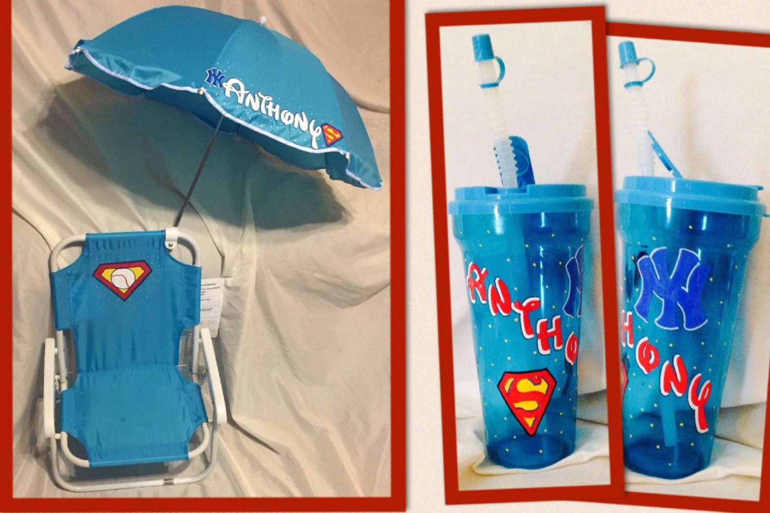 Personalized kids beach chair with umbrella and matching cup