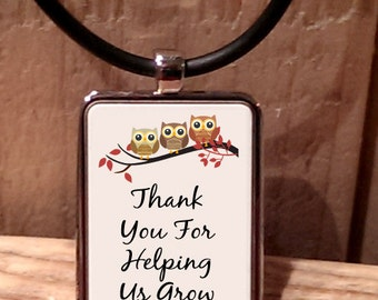 Thank You for Helping us Grow Owl Teacher Necklace
