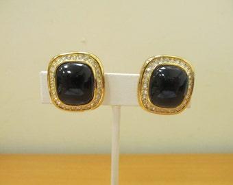 CHRISTIAN DIOR Black Glass and Rhinestone Earrings Item W-#74