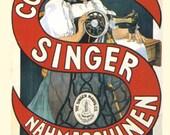 "8x10"" Cotton Canvas Print, Vintage French Singer Sewing Machine Advertisement 1900"