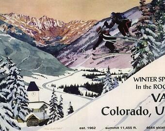 Skiing, winter sports,  Vail Colorado, Rocky  Mountains , travel tourism, vintage travel poster, canvas art print, skiing rockies