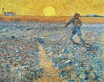 "Vincent  Van Gogh-The Sower. 11 x 14"" canvas art print"