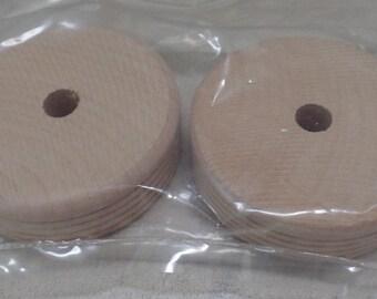 """Craft supplies~ set of 7,  2 1/2"""" round wooden wheels. craft supplies"""