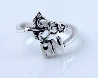 Registered Nurse, Nurse Ring, RN Medical Ring,  Sterling Silver Adjustable Ring, Medical Ring, Stackable Rings, Adjustable Rings SR197