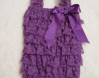 Baby Toddler Ruffle Petti Romper With Straps Purple Small