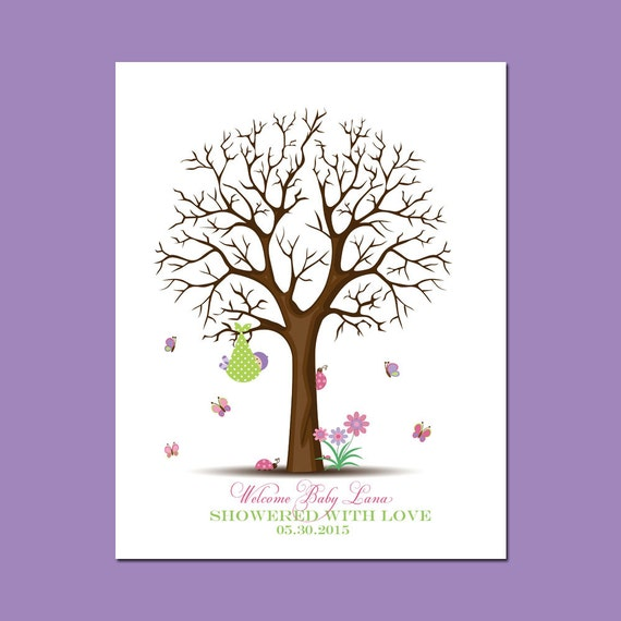 baby girl shower thumbprint tree guestbook baby shower thumbprint
