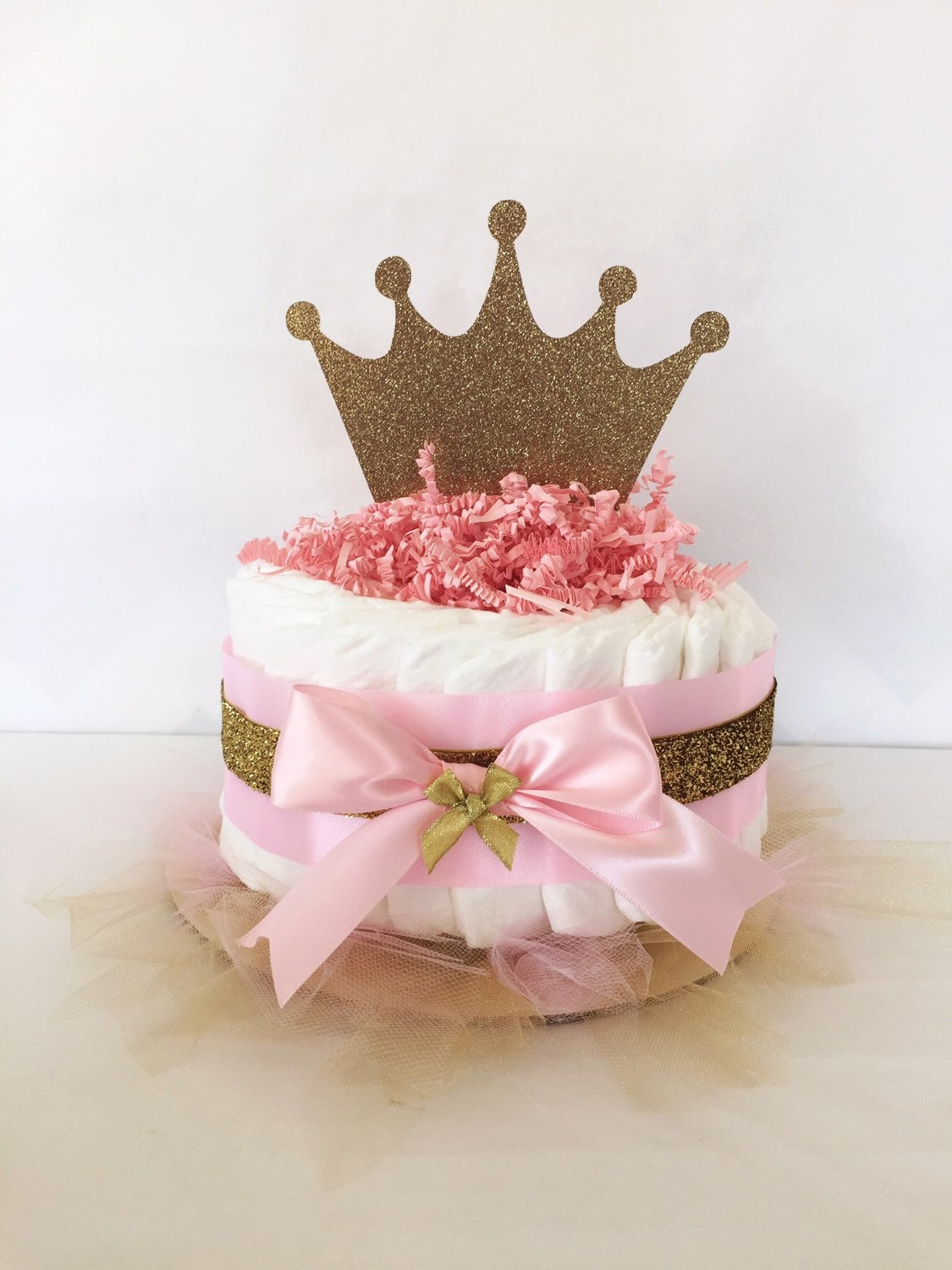 Princess Mini Diaper Cake In Pink And Gold By AllDiaperCakes