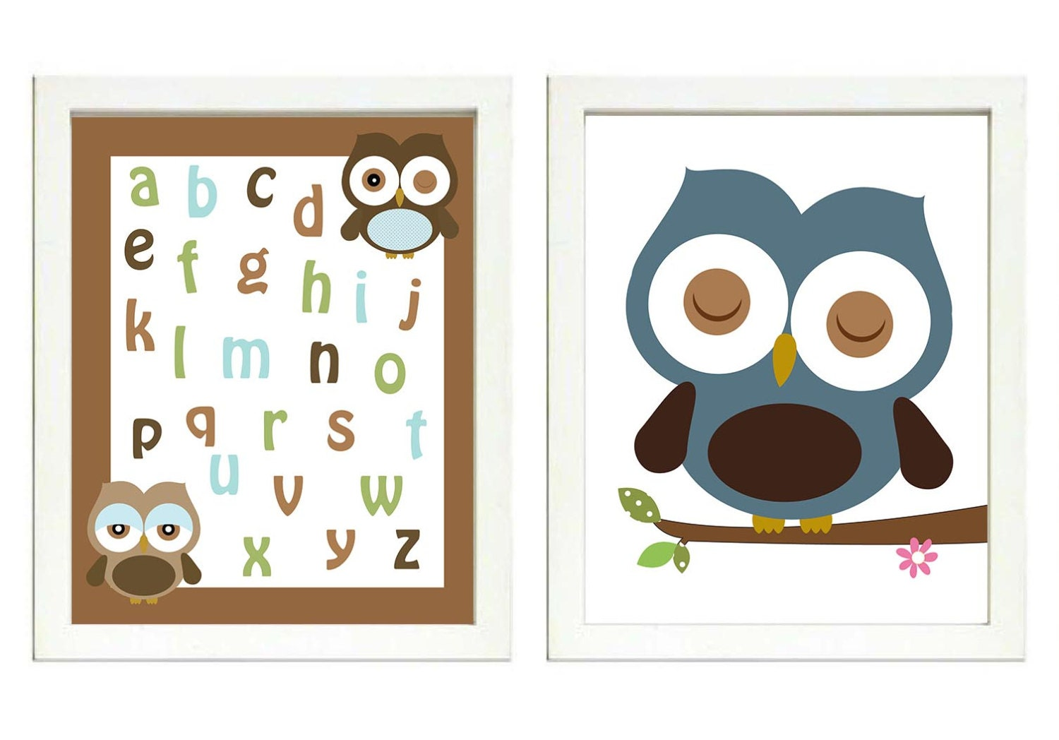 Blue Teal Green Brown Boys Owl Nursery Art Print Set of 2 ABC Owl Alphabet Baby Nursery Print Boy Ch
