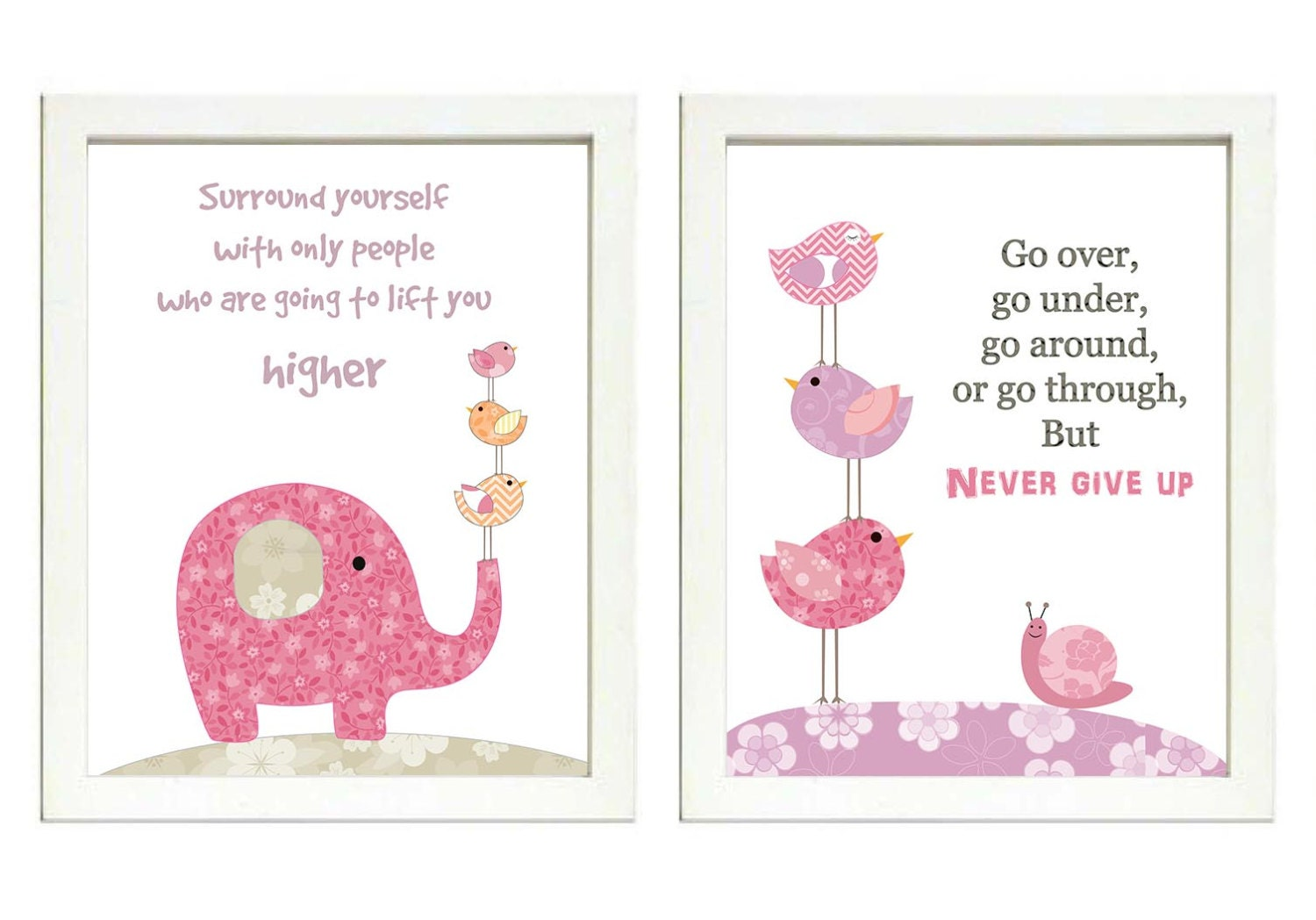 Pink Lilac Purple Girls Nursery Art Print Set of 2 Elephant Snail Bird Baby Nursery Print Girl Child