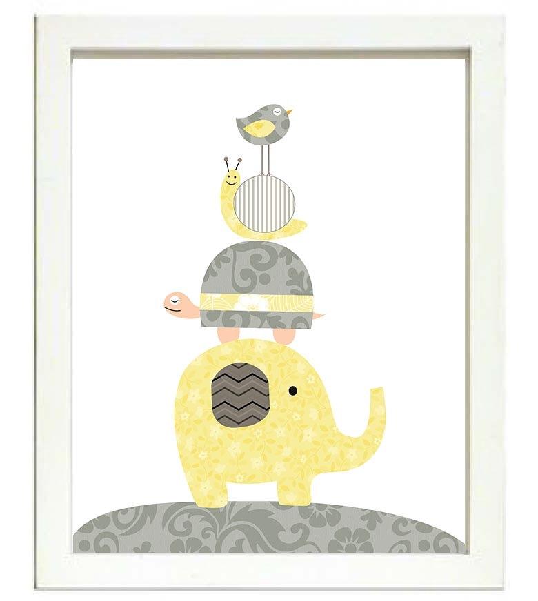 Turtle Elephant Snail Bird Nursery Art Nursery Print Baby Art Animal Gray Grey Yellow Flowers Print
