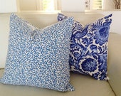 Cobalt Blue & White Cushions Hamptons Coastal Coral Cushions, Linen Floral, Paisley Pillows Scatter Cushion Linen Decorative Piillows