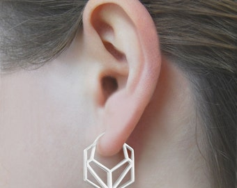Hexagon Earrings, Geometric Sterling Silver Hoop Earrings