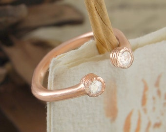 Rose Gold Ring, Stacking Rings, Rings, White Topaz Ring, Gemstone Ring, Open Ring, Gold Diamond Ring, Vermeil Ring, Simple Ring, Boho Ring