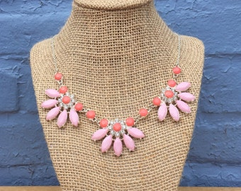 Pink Statement Necklace, Coral Necklace, Peach Necklace, Pink and Silver Statement Necklace, Bib Necklace, Pink Necklace, Layered Necklace