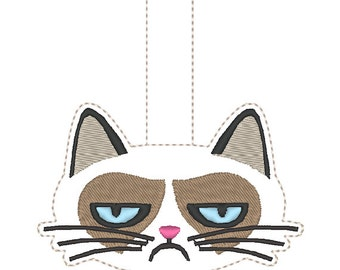 Grouchy Kitty Snap Key Fob design Instant Download