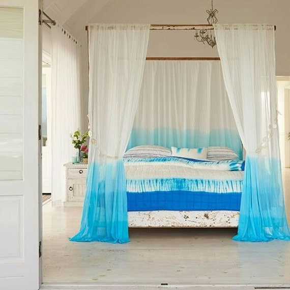Ombre Cyan Tie Dye Curtain By Ohanahomedecor On Etsy