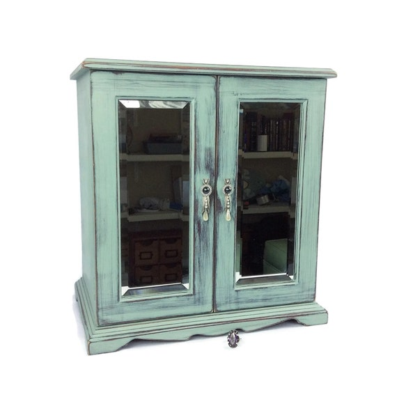 GORGEOUS JEWELRY ARMOIRE Rustic Blue Jewelry Box With Glass