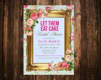 Marie Antoinette Bridal Shower Invitation; Hot Pink; Let Them Eat Cake